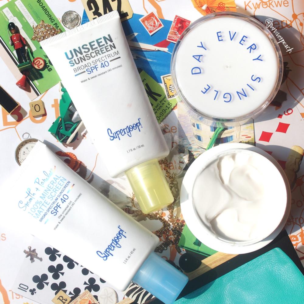 Supergoop Superscreen Daily Moisturizer and Unseen Sunscreens