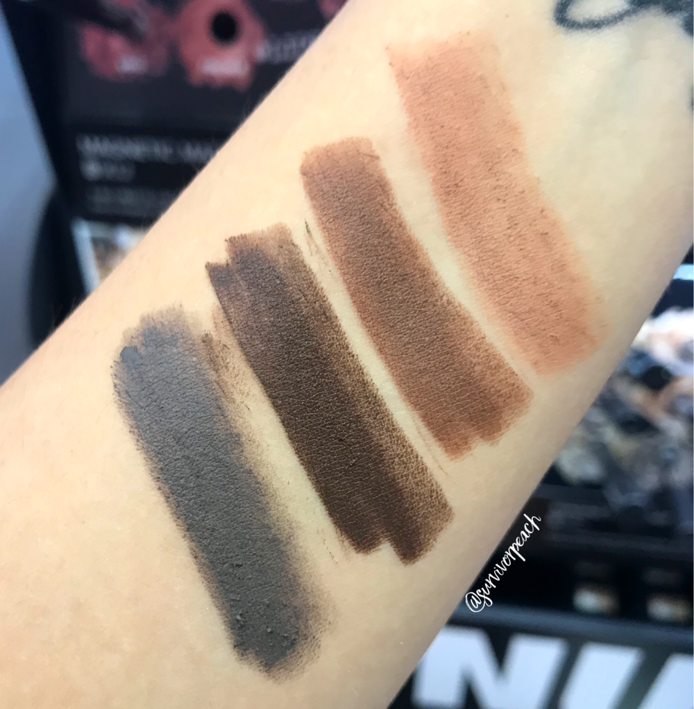 Swatches of the Nudestix Magnetic Matte Eye Pencil in shade Terra, Chocolate, Cocoa, Slate