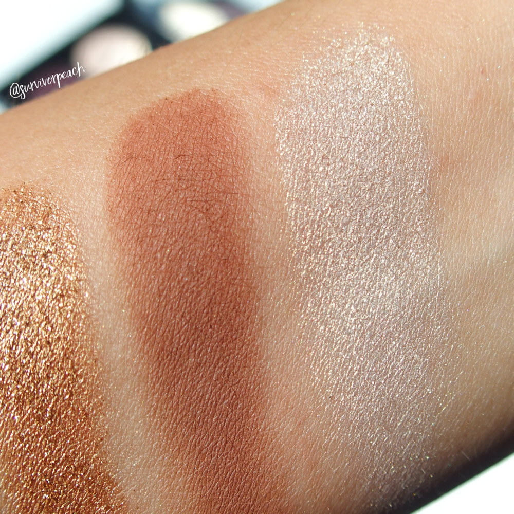 From right, Pat McGrath Labs Bronze Seduction Palette swatches: Skinshow Divine Glow