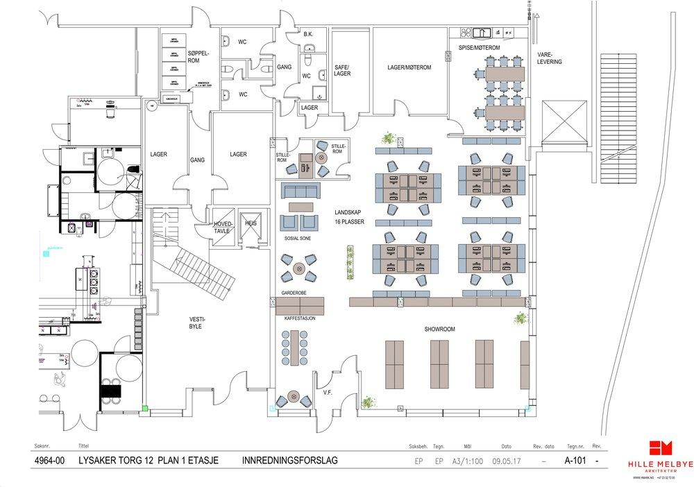 Lysaker Torg 12, 1 etg. 430 kvm BTA, butikk/showroom/kombinasjonslokale
