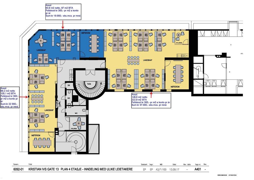 Kristian IV gt 13 - Plan 4 for flere leietakere m areal og pris 15.09.17.jpg