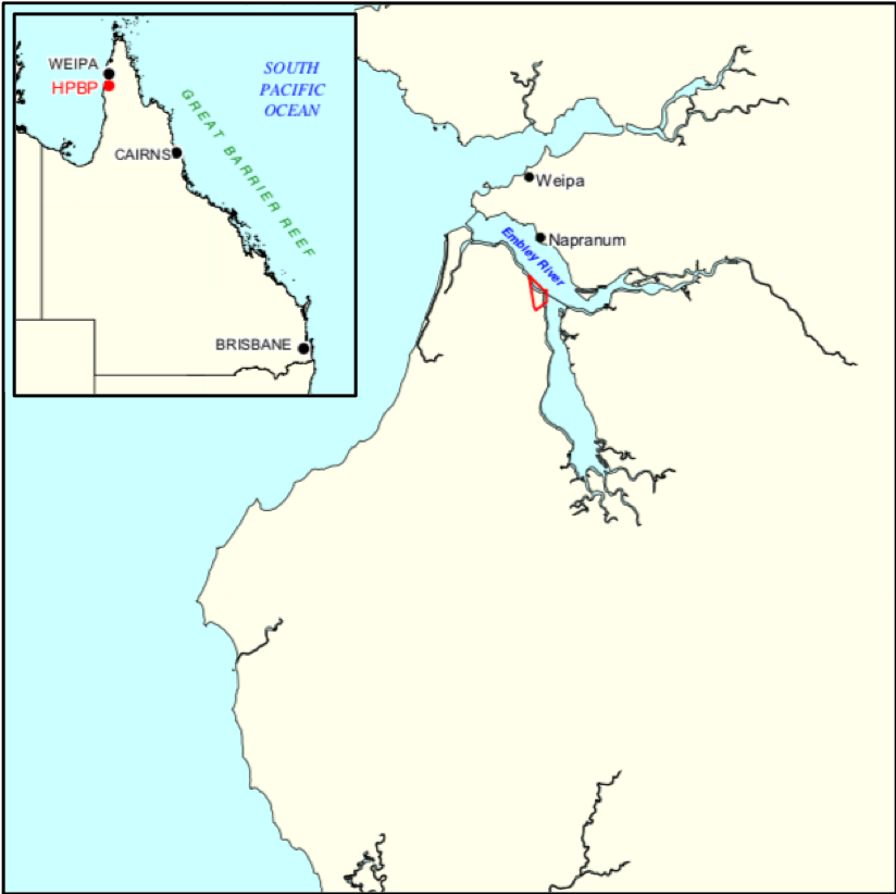 The project is located just south of the Rio Tinto bauxite facility at Weipa, in the north of Queensland, Australia.