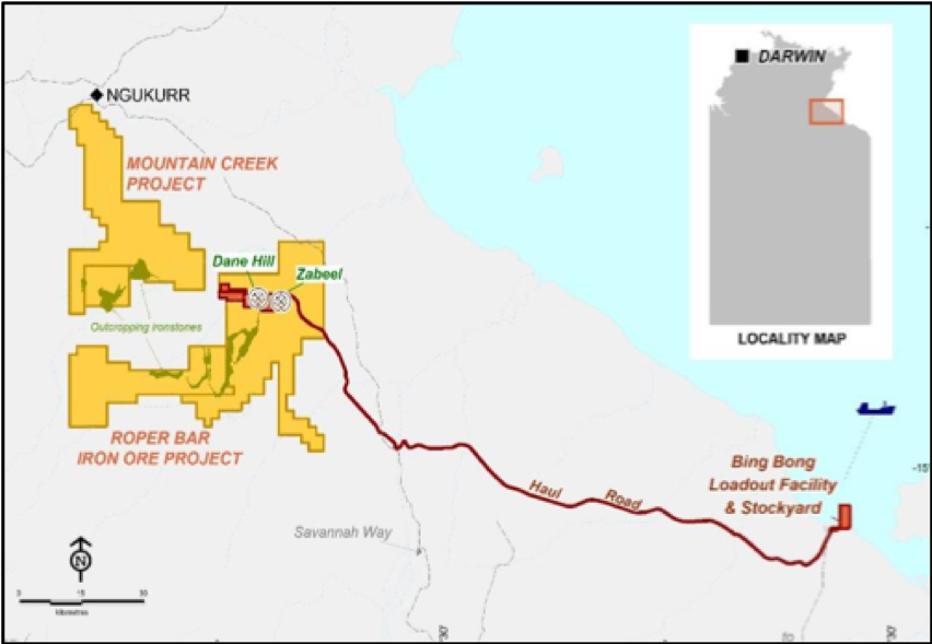 The project is located south-east of the town of Ngukurr and the Roper River, approximately 50km inland from the Gulf of Carpentaria. The mine site is linked to the loading facility at Bing Bong by a 171km haul road.