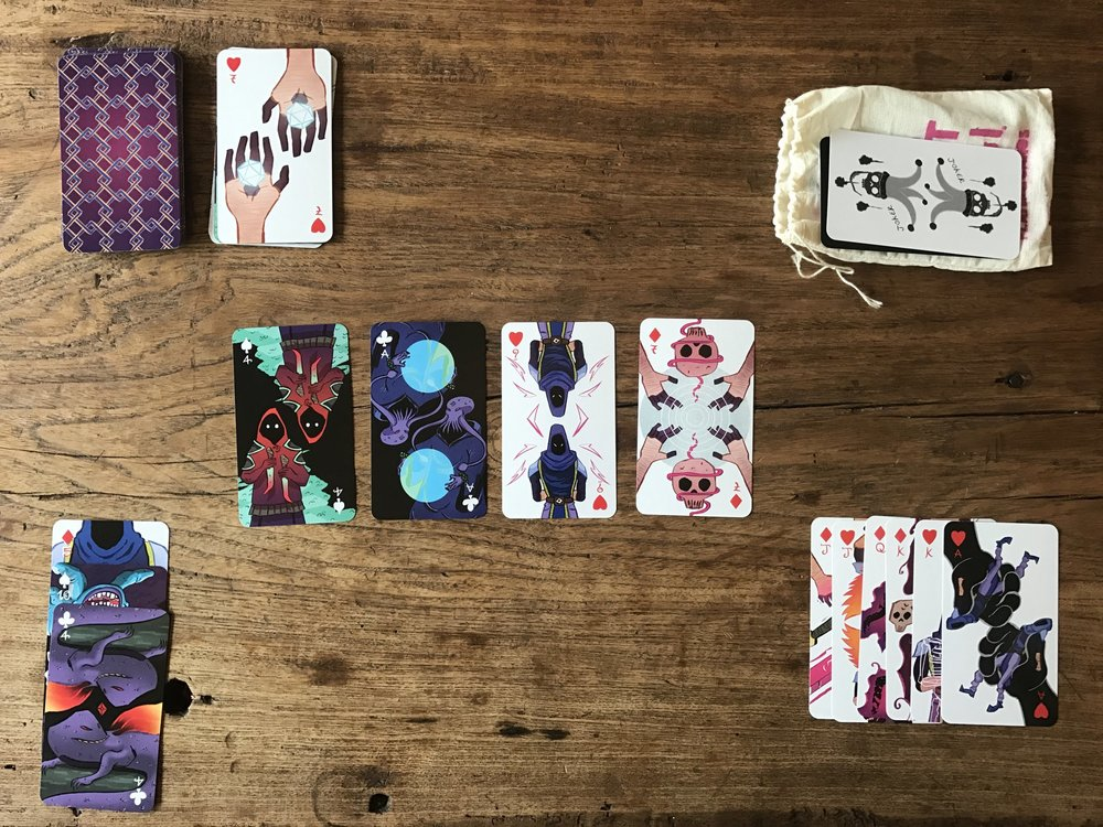 Photo taken by Zach Gage, who's game Scoundrel served as mechanical inspiration for this deck of cards.