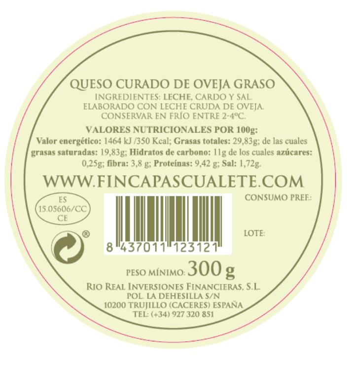 Etiqueta trasera queso mini torta FINCA PASCUALETE
