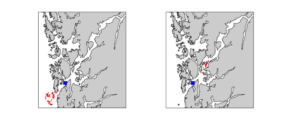 Figur 1.  100 lakseluspartikler (røde prikker) sluppet ut i posisjonen til den blå firkanten henholdsvis den 10. mai (venstre) og 18. mai (høyre) i 2007 . Geografisk fordeling vist etter 48 timer.