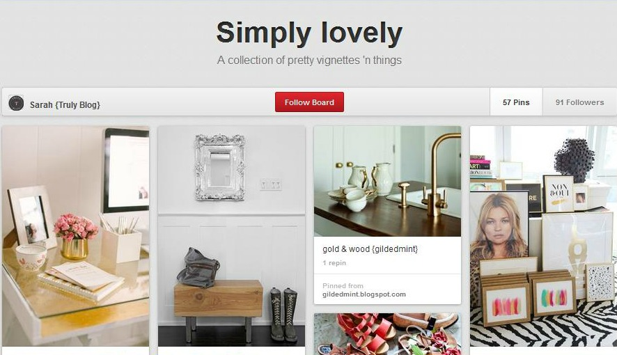 Simply Lovely Pinterest Board