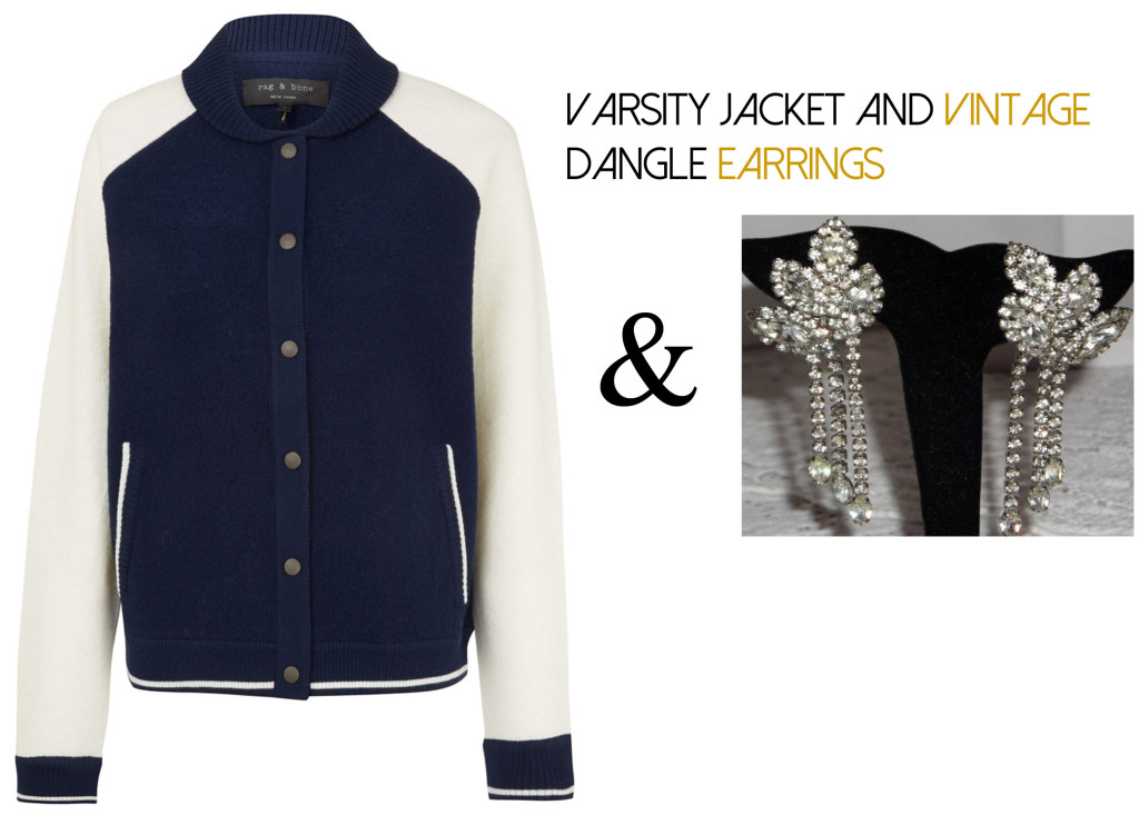 Varsity Jacket and Dangle Earrings