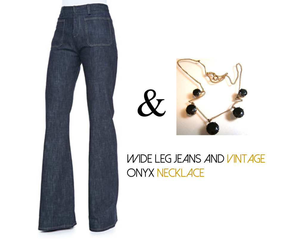 Wide Leg Jeans and Onyx Necklace