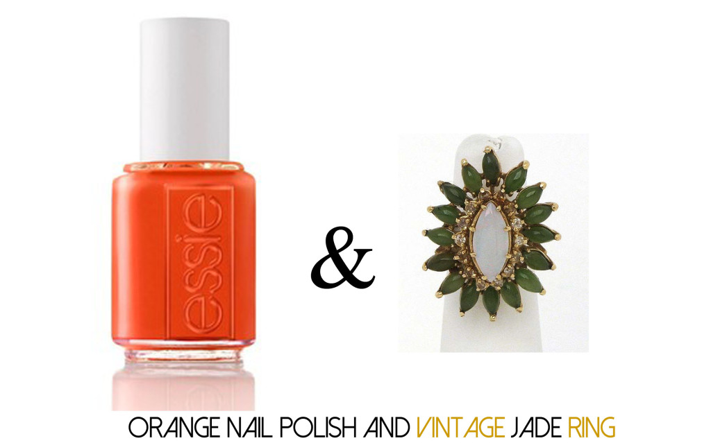 Orange Nail Polish and Jade Ring