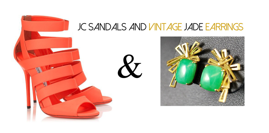 JC Sandals and Jade Earrings
