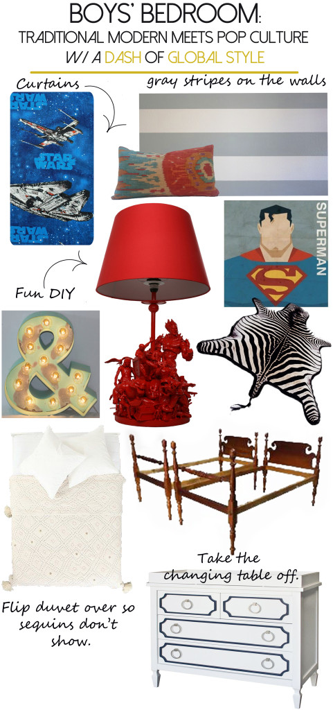 Boys' bedroom mood board