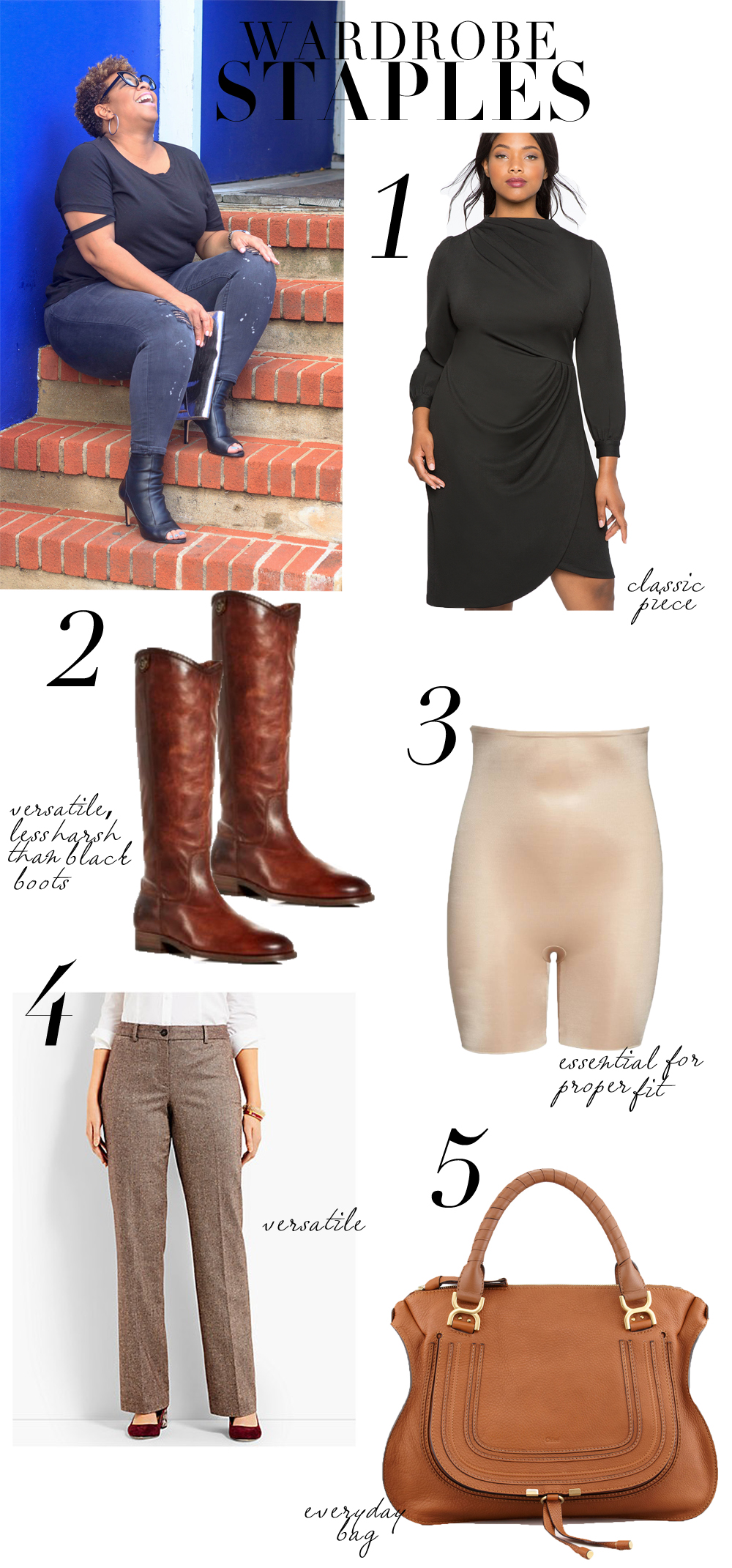 1.  dress  2.  boots  3.  spanx  4.  pants  5.  bag