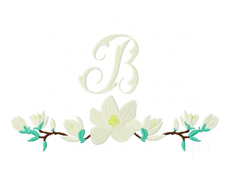 Magnolia wreath embroidery design monogram — herrington