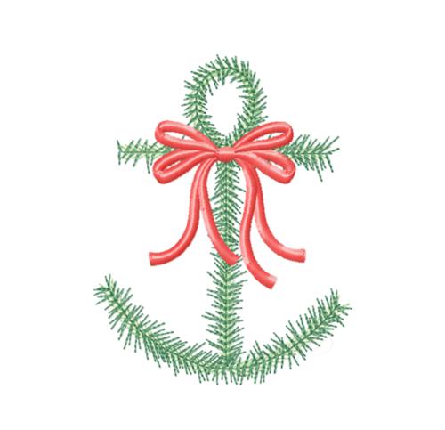 christmas greenery anchor embroidery design - Christmas Greenery