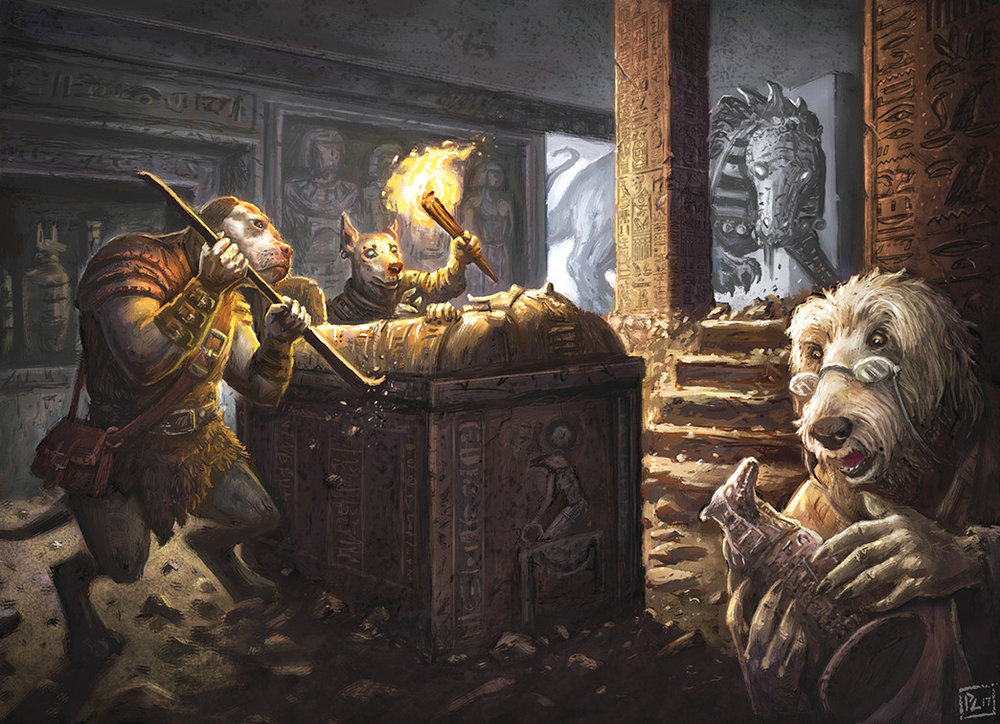 Pugmire  is a world that juxtaposes the tropes of high fantasy with our relationship with domestic dogs. The main characters are pioneers that explore lost ruins in search of relics, knowledge, and danger. Enemies can either be monstrous or simply other misunderstood people, such as the cats of the Monarchies of Mau.