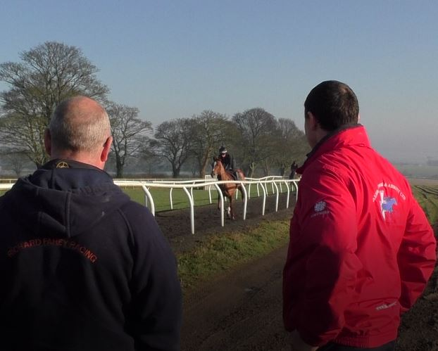 Fahey and Brian at gallops.JPG