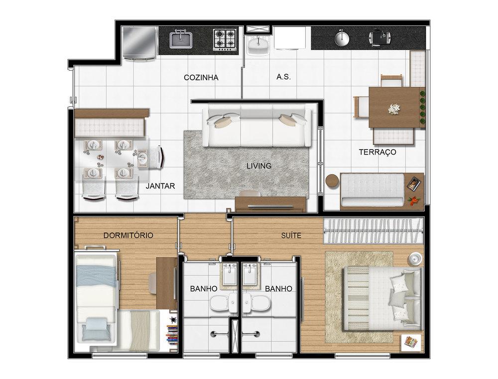 Imagem artística da planta tipo 1 - 58 m2 privativos