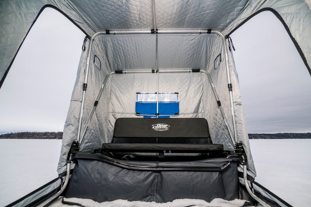 Here's the bare-bones XT Cabin in an X-Over. Adding some lightweight accessories to it really extends the fishability of this house!  Photo Credit - Ben Larson - In-Depth Media Productions
