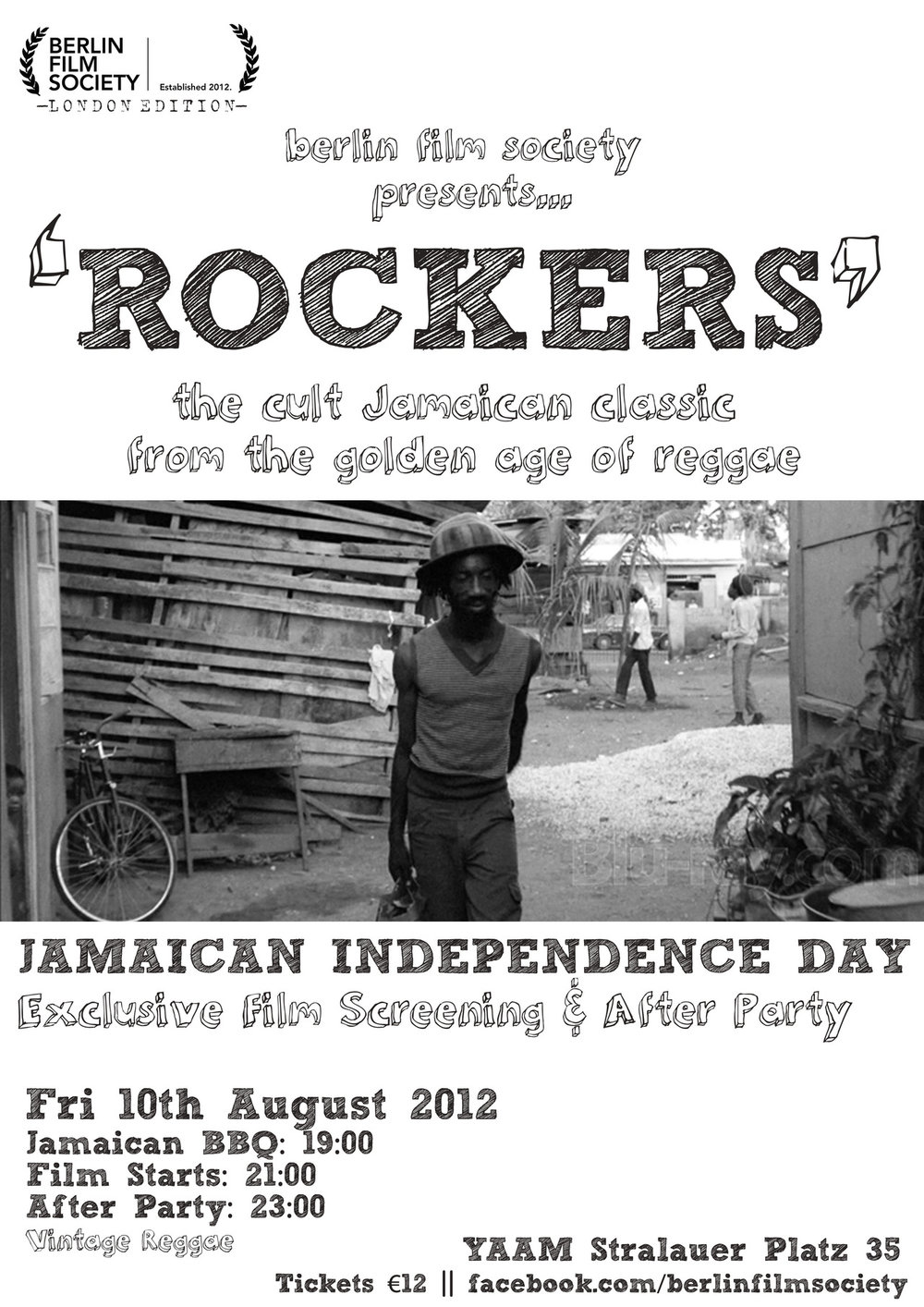 "UNLIKE CITY GUIDES Berlin Film Society - Rockers Fifty years ago this week, Jamaica gained independence from the British. Celebrate in style Friday night as the Berlin Film Society shows an exclusive screening of the 1978 cult classic, ""Rockers,"" at YAAM. Show up early to feast on some delish Jamaican BBQ before the 21:00 start time. Then let the soundtrack get you hyped for a vintage reggae after party with DJs Barney Millah and Stefan from Such A Sound. An entrance fee of 12€ gets you in on all the action."