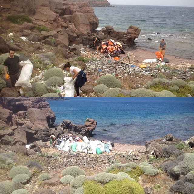 Before and after beach cleaning in Palios with the dream team! Thank you guys! #beach #environment #lavidaloca