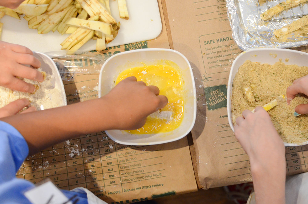 Teamwork makes the [eggplant fries] dream work!