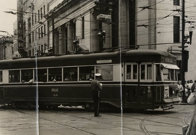 Roanoke Electric Railway street car near the Taubman and Amtrak station right after WW2.