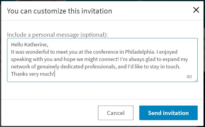 A sample LinkedIn connection request to someone you met at a conference.