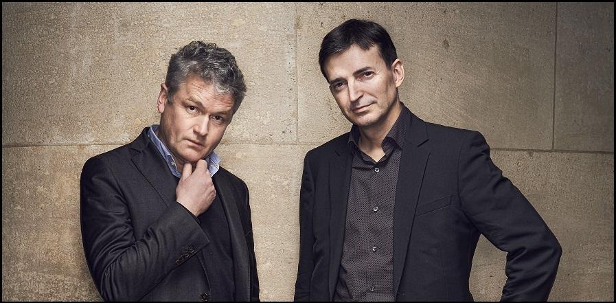 Jérôme Sainte-Marie, président de Polling Vox, et Emmanuel Rivière, directeur général de Kantar Public - crédit photo : Manuel Braun