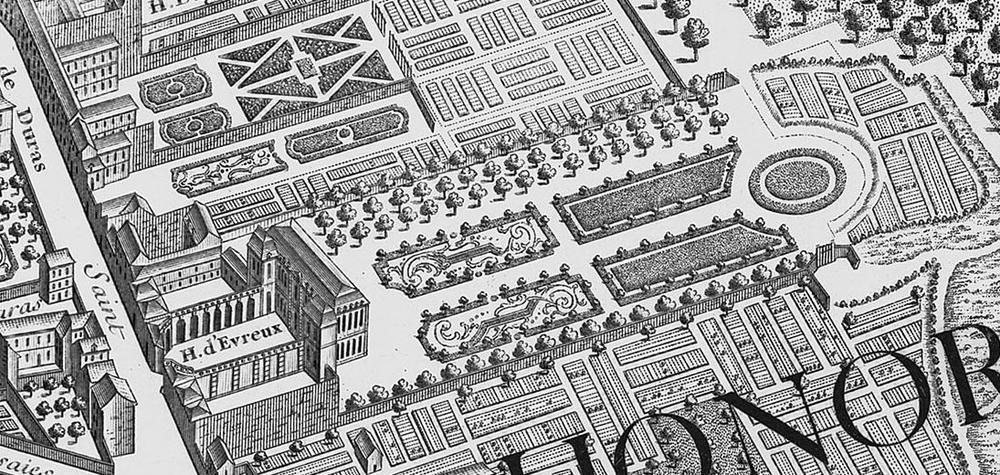 L'Hôtel d'Évreux selon le plan de Turgot, vers 1737