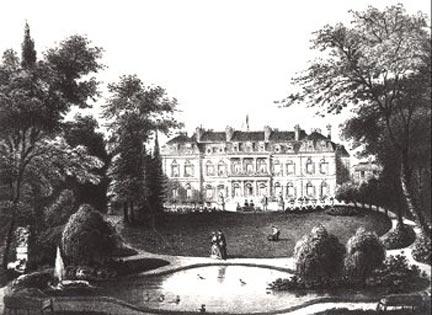 Le parc du Palais sous la IIe République, gravure du XIXe siècle