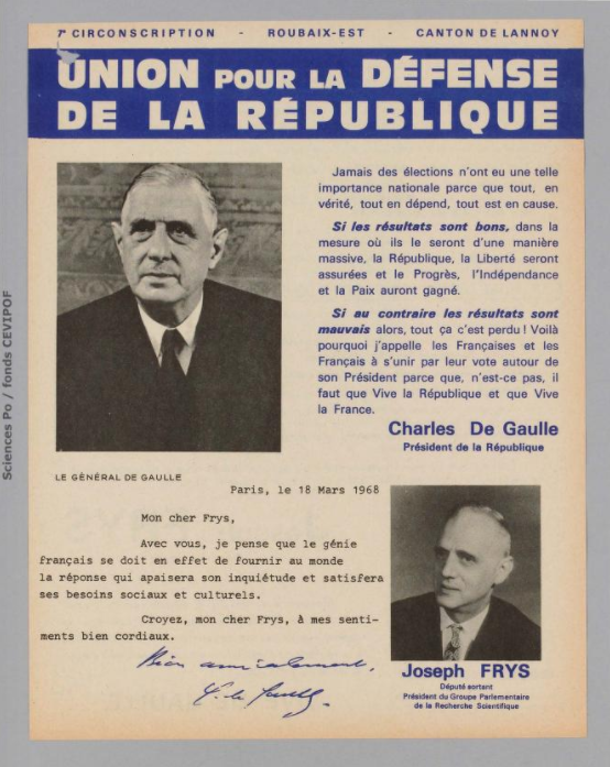 Législatives 1968 (Nord, 7e circonscription) : profession de foi du 1er tour