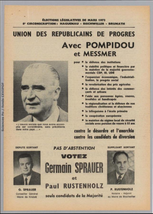 Législatives 1973 (Bas-Rhin, 8e circonscription) : profession de foi du 1er tour
