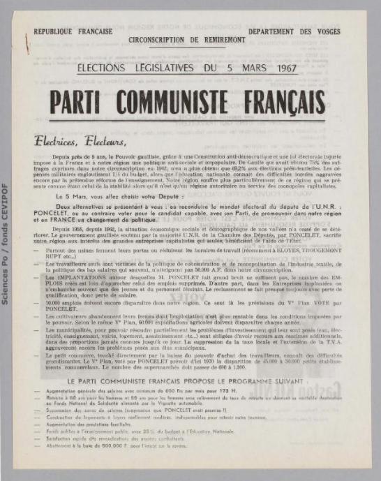 Législatives 1967 (Vosges, 3e circonscription): profession de foi du 1er tour