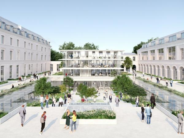 Au coeur du site, la cour Gribeauval sera un lieu de passage dynamique, qui accueillera un Pavillon de verre   Illustration :Sogelym Dixence/ Wilmotte & Associés / Moreau Kusunoki Architectes / RSI Studio