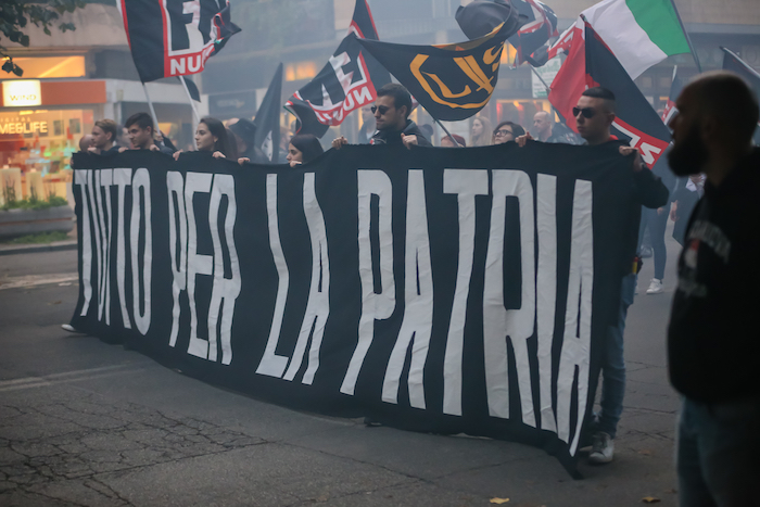 Demonstration of the political movement called Forza Nuova held in Rome, Italy, on the 4th of November 2017. (Crédit: D.R.)