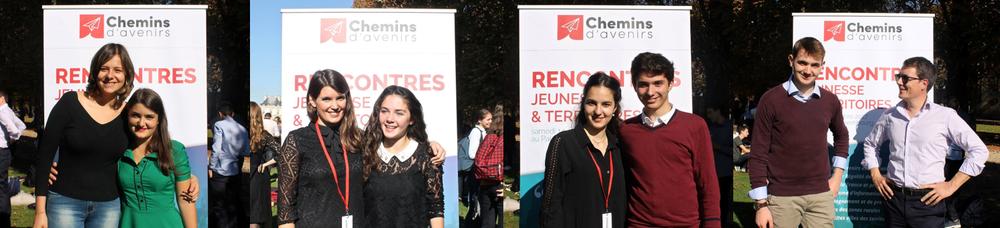 Quatre binômes parrains et filleuls réunis lors des Rencontres Jeunesse & Territoires, organisées chaque année par Chemins d'avenirs. En 2017, celles-ci avaient lieu au Sénat, avec un discours d'ouverture prononcé par le Porte-parole du gouvernement Benjamin Griveaux.