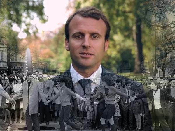 Mai 68 (crédit : Gilles Caron / Fondation Gilles Caron / Clermes) -Emmanuel Macron en 2017 (CC)
