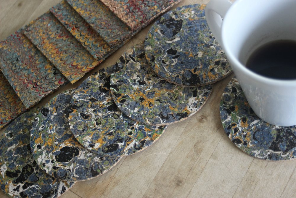 Marbled Cork Coasters