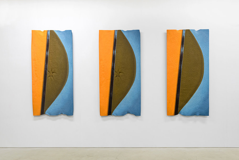 Duck Duck Goose (Looking Glass, Looking Blue) , Oil and acrylic paint, urethane resin, fiberglass, urethane glue, aluminum framing, 3 parts: each 56 x 27 in., 2015