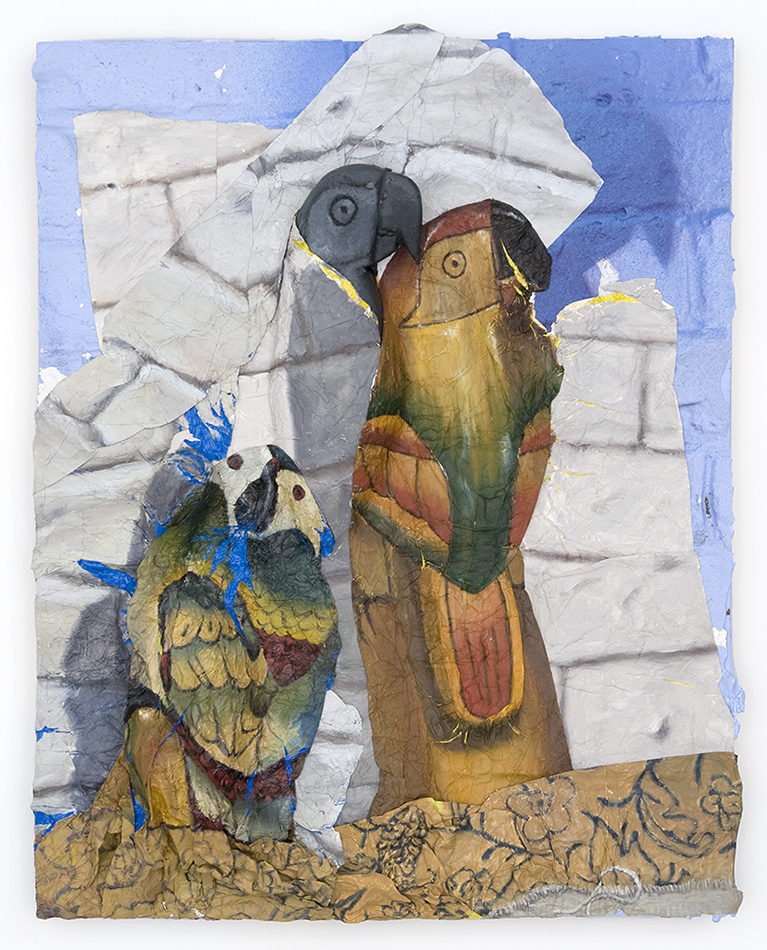 Parrot Figurines , Oil paint, aluminum foil, spray paint, and plastic on wood panel, 20 x 16 in., 2013