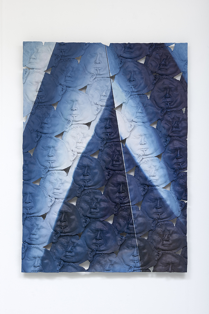 Looking Glass Looking Blue (Mom and Dad) , Oil paint, acrylic paint, urethane resin, epoxy, fiberglass, urethane glue, aluminum framing, 58x42 in., 2017. Photo: Tony Luong