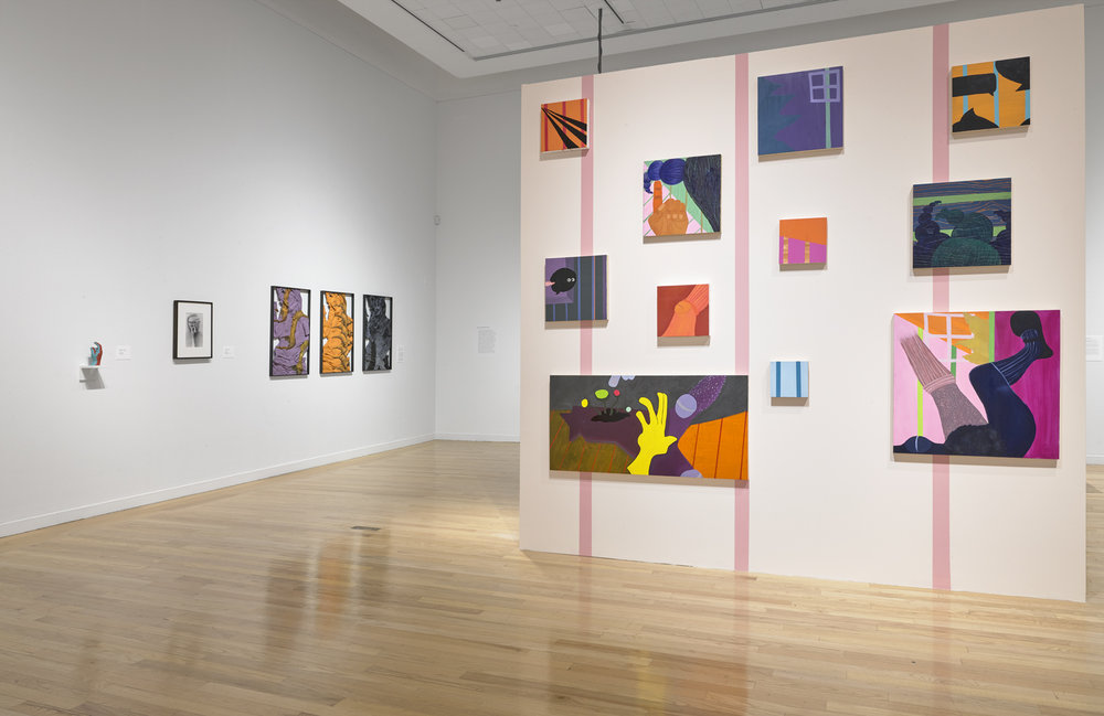 Installation view -  STATES OF FREEDOM: THE FIGURE IN FLUX.  Artists: Derrick Adams, A. K. Burns, Kate Costello, Harry Dodge, Anna K.E., Lucy Kim, Kiki Kogelnik, Maria Lassnig, Karen C. Moss, Jeanine Oleson, Lorna Simpson, and Alexandria Smith. Photo: Stewart Clements