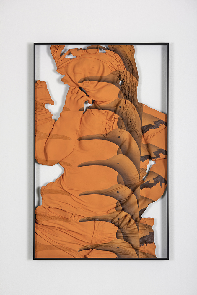 Auto-Synthetic (Orange) , Oil paint, acrylic paint, urethane resin, epoxy, fiberglass, powder-coated aluminum frame, 37 x 23.5 x 2 in., 2018. Photo: Tony Luong