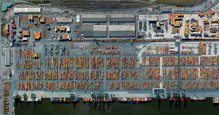 Port of Antwerp from space