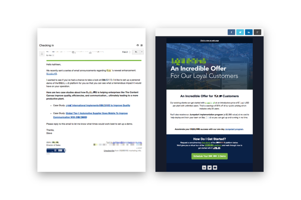 Examples of  sales  email content to the left and  marketing  email content to the right.