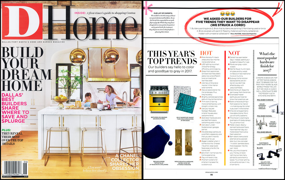D-HOME MAGAZINE  • MAY/JUNE 2017  THIS YEAR'S TOP TRENDS ARTICLE