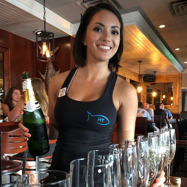 Come check out Kat pouring it up tonight! #hottunavb #shoredivevb #bartender