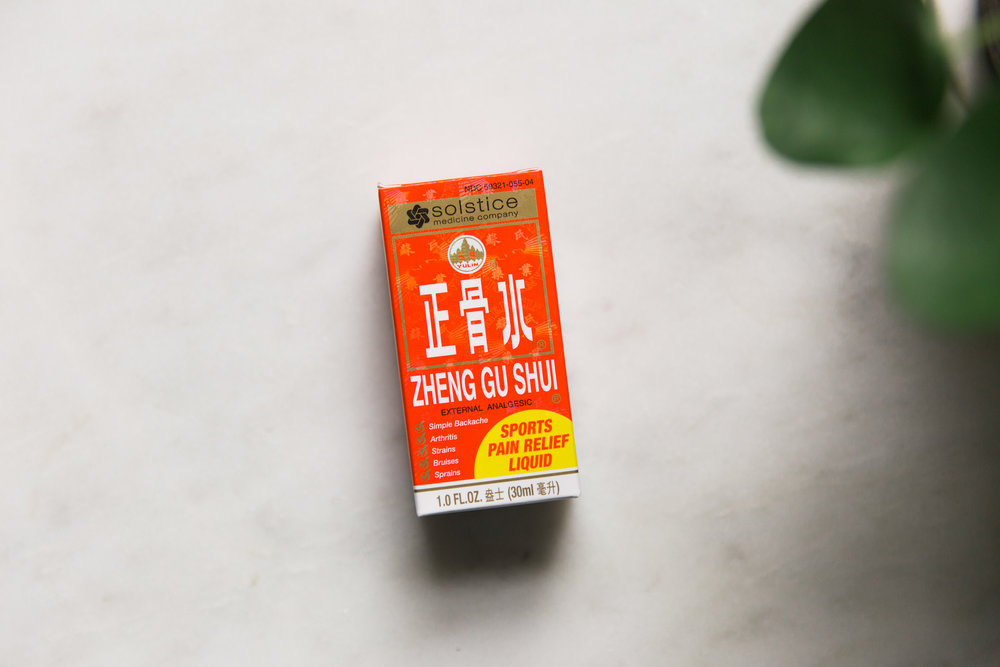 Zheng Gu Xui, $7  Great for external cooling pain relief, Zheng Gu Shui may be used for the temporary relief of aches and pains of muscles and joints associated with backache, lumbago, strains, bruises, sprains, and arthritic or rheumatic pain, pain of tendons and ligaments.