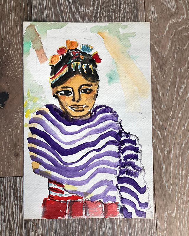 Original artwork of a A girl in a shawl from Santiago Atitlan! . . . #bags #boho #ethnic #huipil #guatemala #newmexico #albuquerque #santafe #handmade #handwoven #fall #style #goods #fairtrade #mayan #colorful #cotton #smallbusiness #supportsmallbusiness #newmexican #nmtrue #southwest #desertstyle #calabasaimports #art #watercolor #originalart